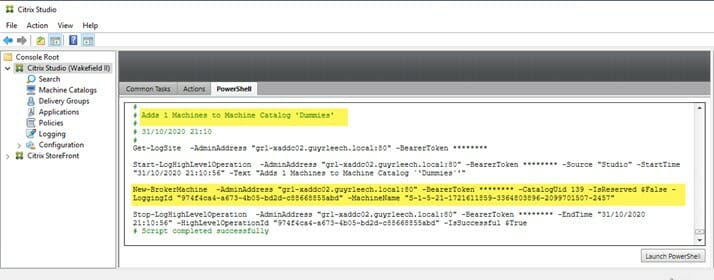 The PowerShell tab in Citrix Studio shows the PowerShell cmdlet used for executing an action