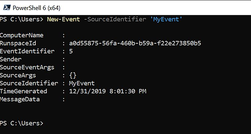 The New-Event cmdlet creates a new PowerShell event