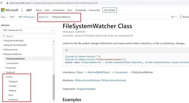 Figure 13: Events for FileSystemWatcher class