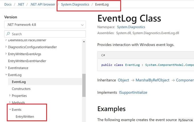 EntryWritten event for EventLog class