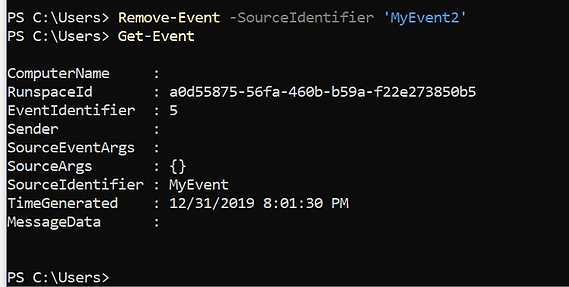 Remove-Event cmdlet deletes events from the event queue