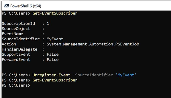 Cancelling an event subscription with the Unregister-Event cmdlet in PowerShell