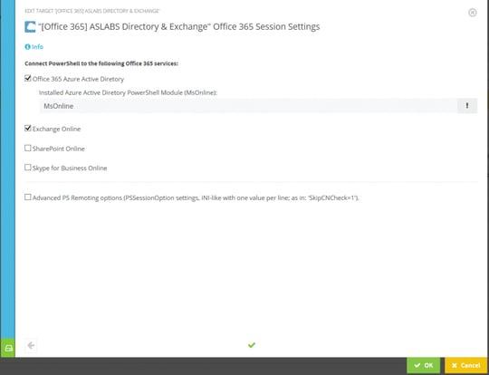 Screenshot: Target configuration wizard of an Office 365 target system