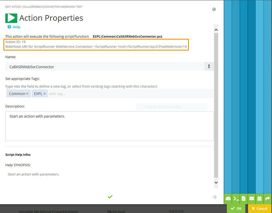 Action ID and Webhook URL on the first page of the Action configuration wizard