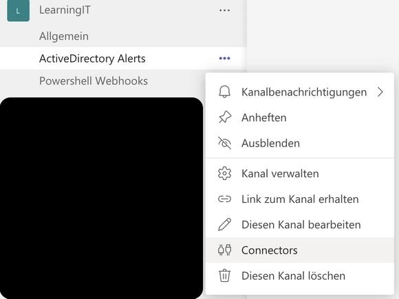 Die Connectors-EInstellungen eines Team-Kanals sind über das Kontextmenü zugänglich