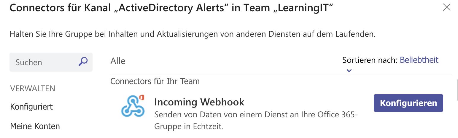 """Übersicht der verfügbaren Connectors im Team """"Learning IT"""""""