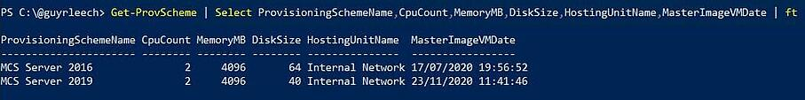 Retrieving the provisioning scheme name via PowerShell