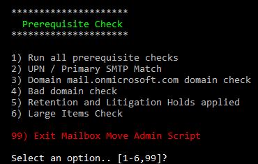 Screenshot: Simple menu driven PowerShell script for executing prerequisite checks