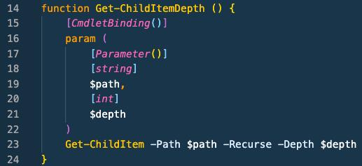 Screenshot: Example PowerShell function