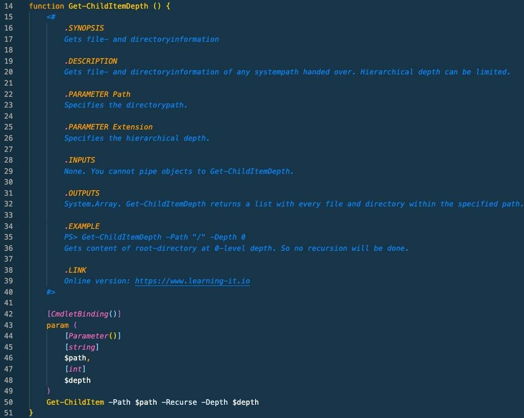 Screenshot: meta-data in the function header