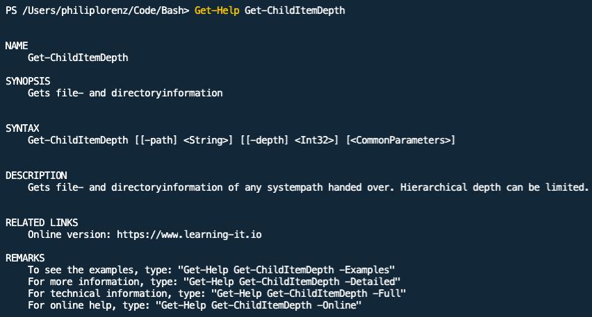 PowerShell screenshot: Output of Get-Help Get-ChildItemDepth