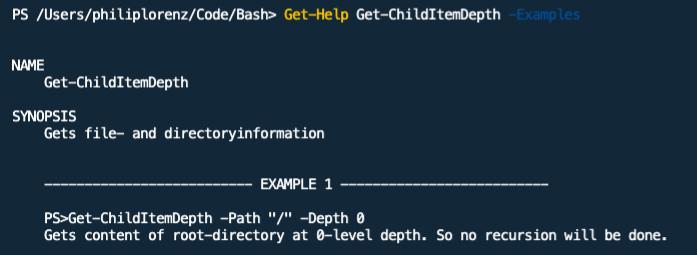 """alt=""""PowerShell Screenshot: Output from Get-Help Get-ChildItemDepth -Examples"""""""