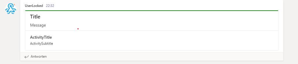 Screenshot: PowerShell alert in a Teams channel