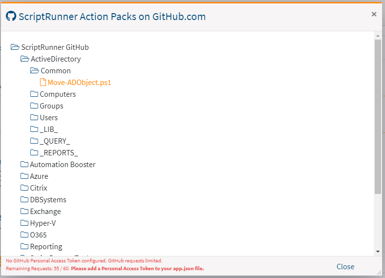 Screenshot: Dialog window for importing script files from ScriptRunner ActionPacks on GitHub