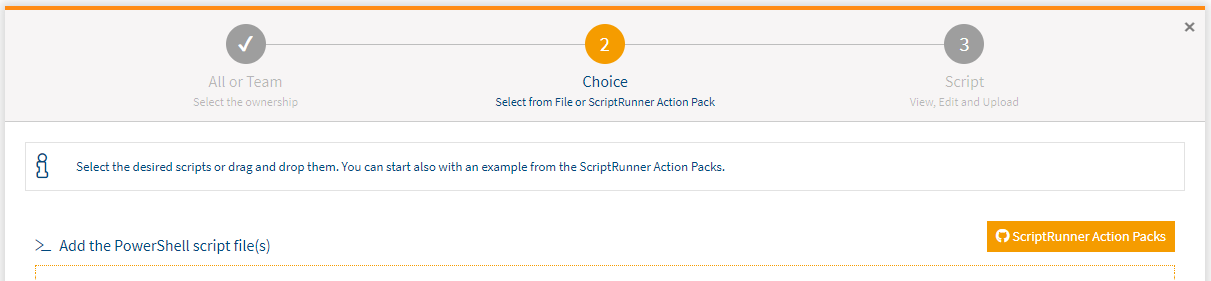 Screenshot: Detail view of the button for uploading scripts from ScriptRunner ActionPacks.