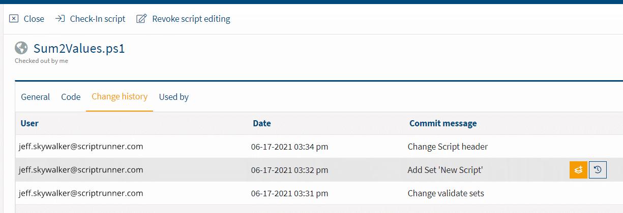 Screenshot: Change history of a script in Portal Edition R1