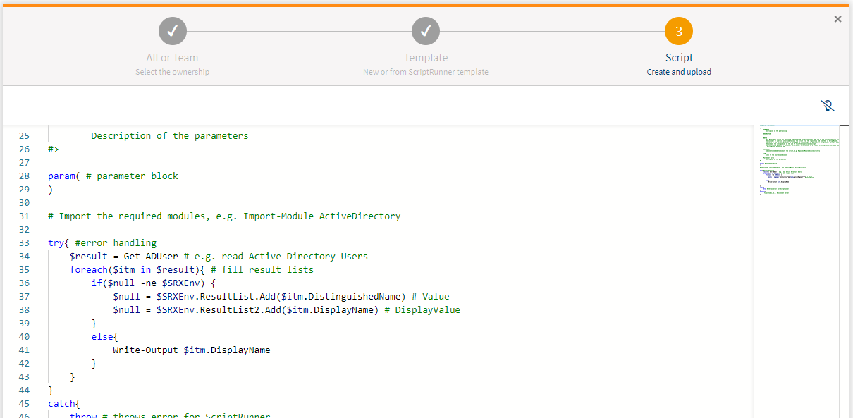 Screenshot: Editing a script in the last step of the Create wizard.