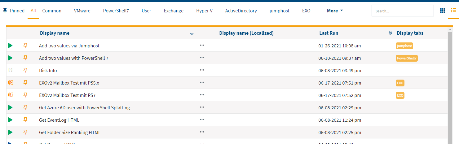 Screenshot: Actions in the list view