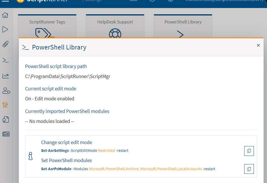 Screenshot: PowerShell Library settings in ScriptRunner Portal Edition R1