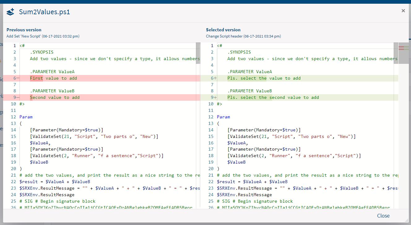 Screenshot: Script-Screenshot: Script comparison display mode in Portal Edition R1