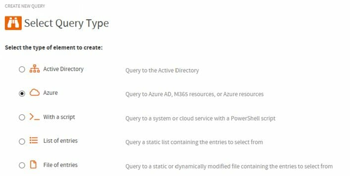 Screenshot of ScriptRunner Admin App, feature to create new queries. In the 'Select Query Type' tab, the 'Azure' option is selected.