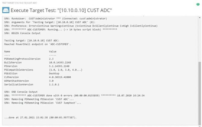 Screenshot: Log of a connection test in ScriptRunner