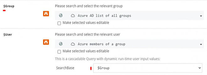 Screenshot of a ScriptRunner Action: The results of the Azure queries are available as a selection in the input form of the Action.