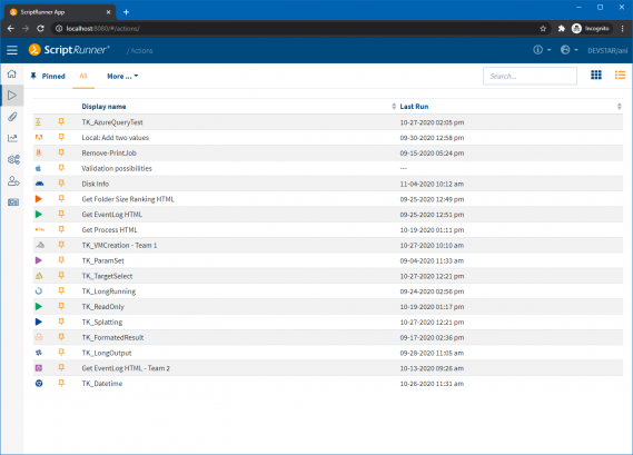 Screenshot: Entry page of the Actions-module in the list view