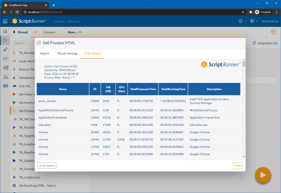 Screenshot: Report pop-up with access to the execution report, Result Message and HTML report