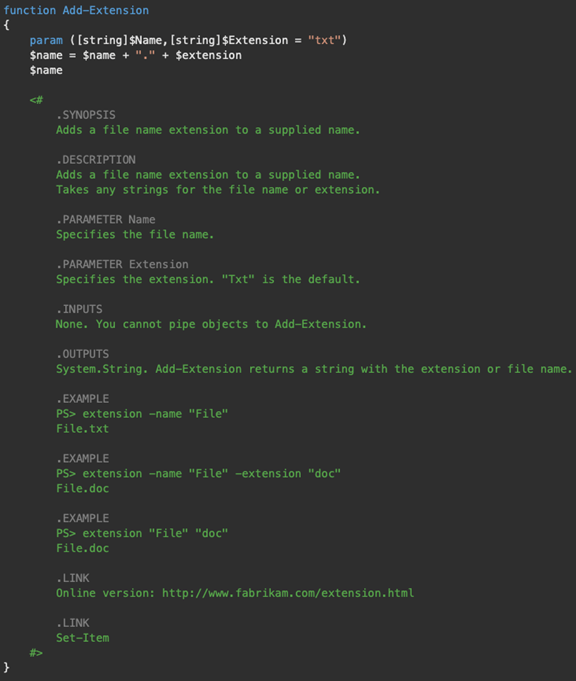 Screenshot of a PowerShell function that contains an extensive list of meta information within a comment