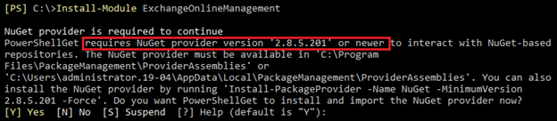 Screenshot of a system message containing the following: