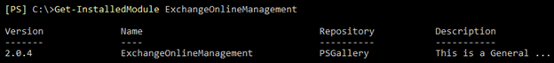 Screenshot: The output of Get-InstalledModule ExchangeOnlineManagement