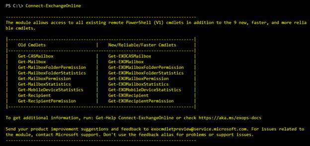 Screenshot: Connect-ExchangeOnline delivers a wrap-up of old and new cmdlets in the module