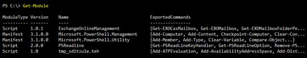 Screenshot: Output of Get-Module