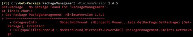 Screenshot of an error message that states