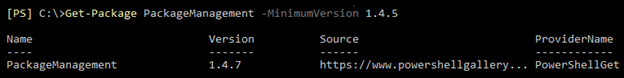 Screenshot: The output of