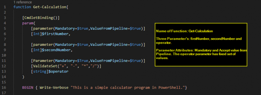 Screenshot: Calculator script. Name of Function: Get-Calculation; Three Parameters: firstNumber, secondNumber and Operator