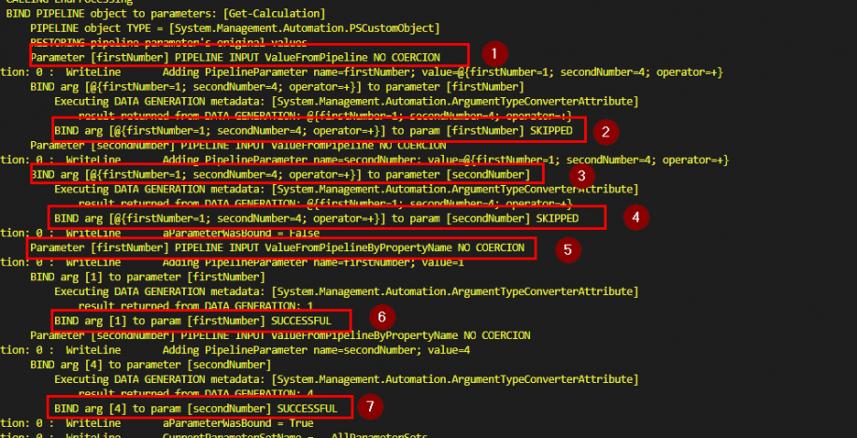 Screenshot: Parameter binding for PS custom object