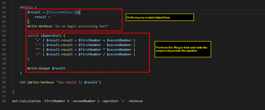 Screenshot: Calculator script. Defining the output object and writing the output into the pipeline