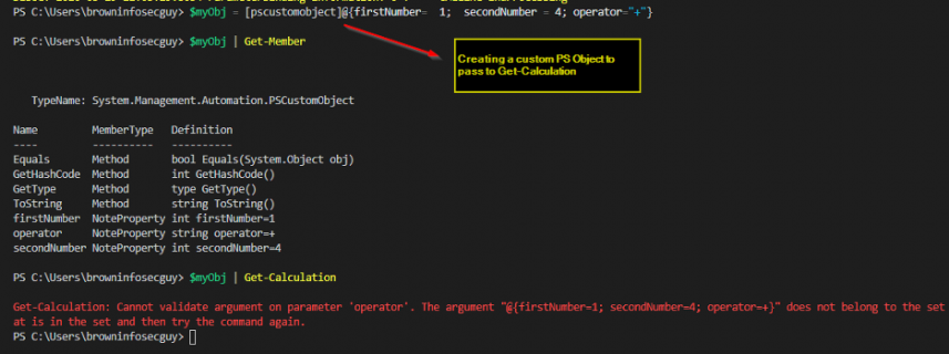 Screenshot: Passing a custom PS Object to Get-Calculation