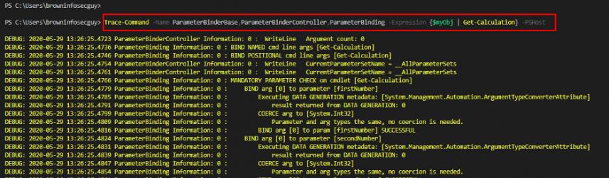 Screenshot: Using Trace-Command to examine parameter binding