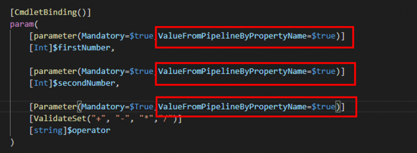 Screenshot: Parameter attribute to accept value by propert