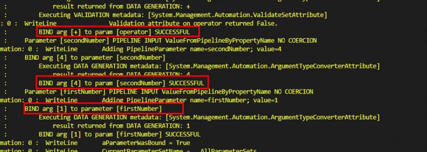Screenshot: Trace-Command reveals, parameter binding is successful