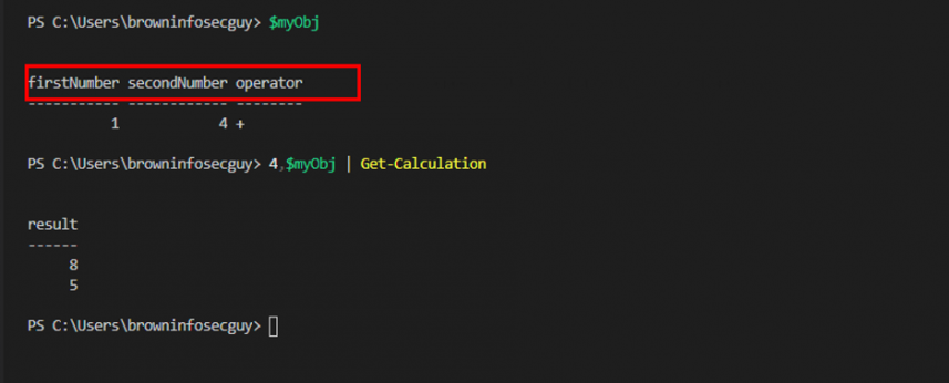 Screenshot: Supplying two objects to Get-Valculation