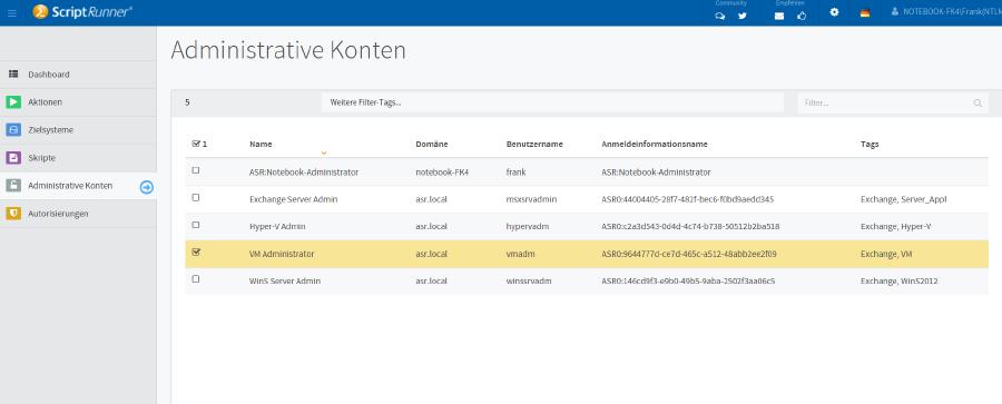 List of administrative accounts in ScriptRunner Admin App