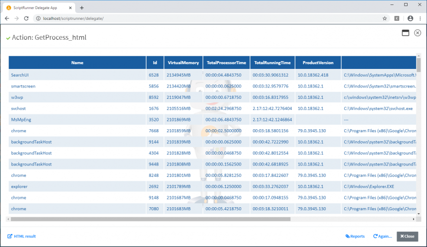 Figure 1: Display of ConvertTo HTML reports in ScriptRunner