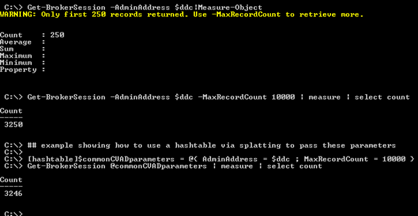Screenshot: Enhancing the scope of the command with -MaxRecordCount