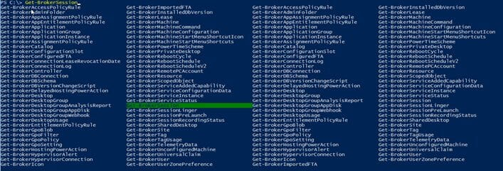 Screenshot: List of available cmdlets in the Citrix Module