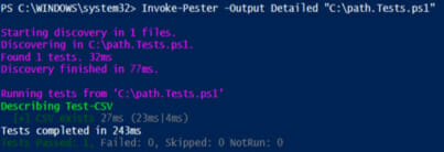 Screenshot: PowerShell output depicting that the path test was successful