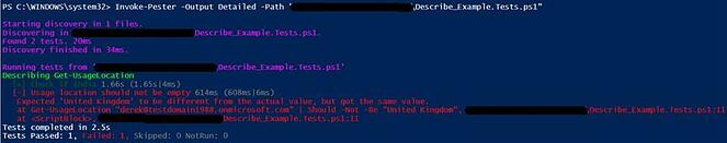 Screenshot: PowerShell output depicting that the first it block test succeeded while the second failed